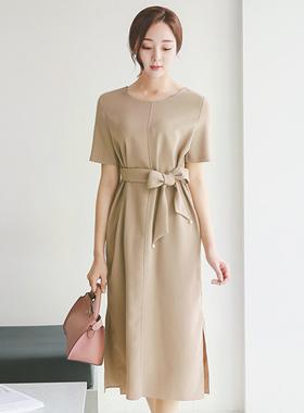 サイドディープスリット真珠ベルティードドレス