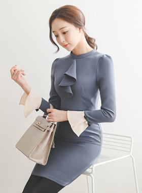 ラッフルフルカフスリボン小売ドレス