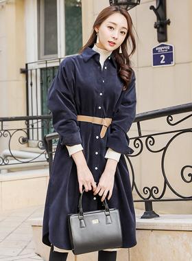 ネイチャーコーデュロイロングシャツドレス