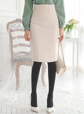 シンプルベーシック毛織ミディスカート
