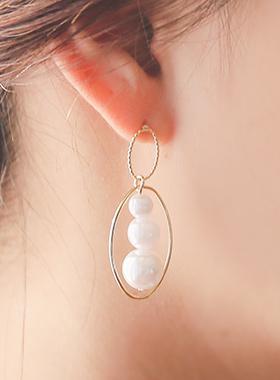 オーバルリング真珠レイヤードイヤリング