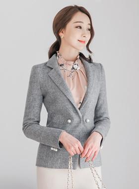 女性の模造真珠テイラーウールジャケット