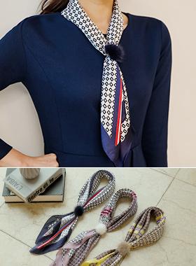 シルク捺染ミンクリングスカーフ(スカーフリングset)