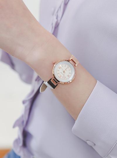ピンクローズ シンプル カーフスキン 時計