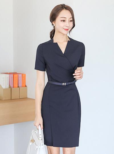 フォーマルラップシャーリングベルティードドレス(半袖)