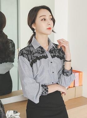 ブラックレイスストライプシャツ