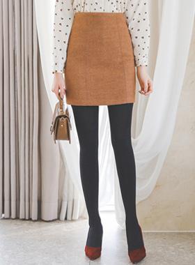 ステッチライン毛織ミニスカート