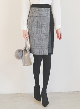 チェックパッチ配色オンバルスカート