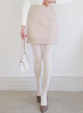 ブクルトリミング毛織ミニスカート