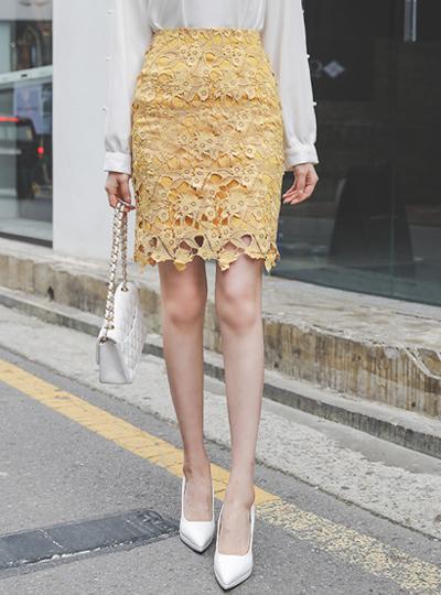 桜花 ケミカルレース Hライン スカート