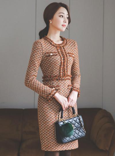 クチュールツイードパールポケットドレス
