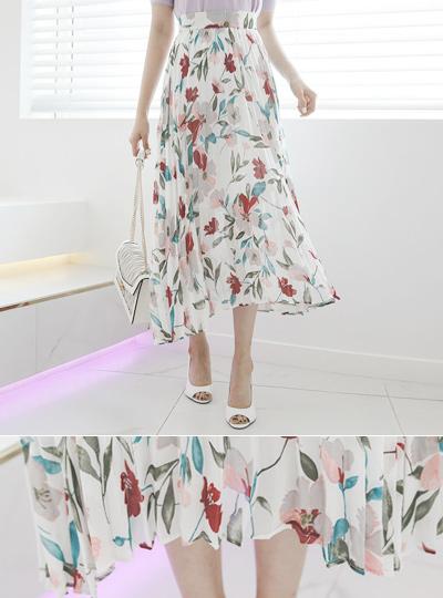 百合 花柄 ペインティング プリーツ スカート