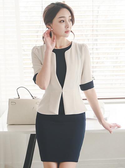 レディジャケットレイヤードドレス(7分袖)