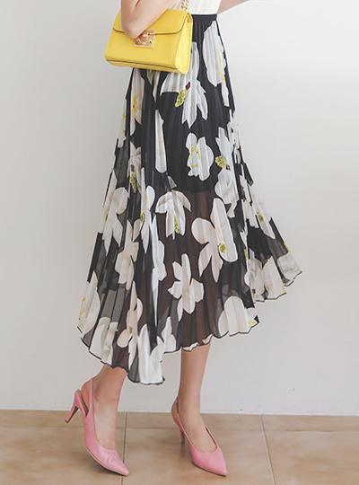 プリーツ 花柄 捺染 バンディング ロング スカート