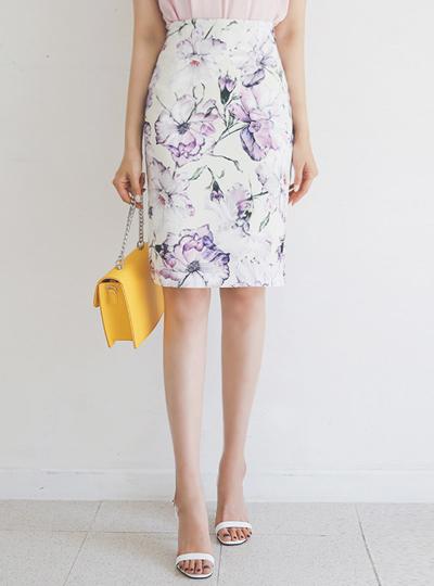 ドローイング 花柄 スリム スカート