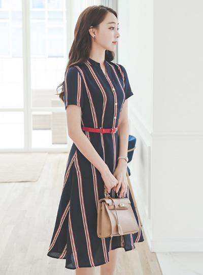 ローレンラインシャツフレアドレス