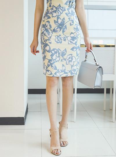 リネン テクスチャ 花柄 捺染 スカート