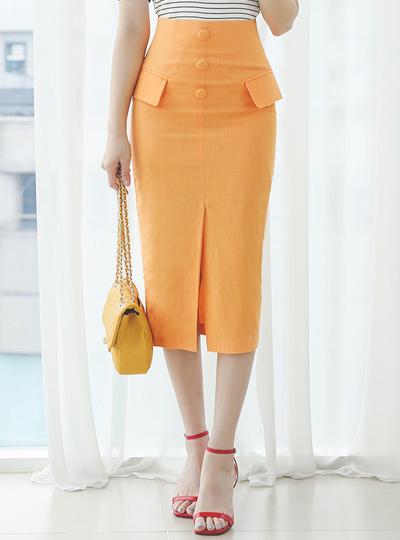 ネオン カラー フラップ 飾り ボタン スカート