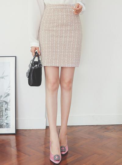エッジ パール 配色 ツイード ミニ スカート