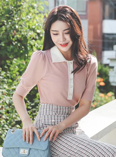 カラー配色 真珠 パフ袖 ニット トップ