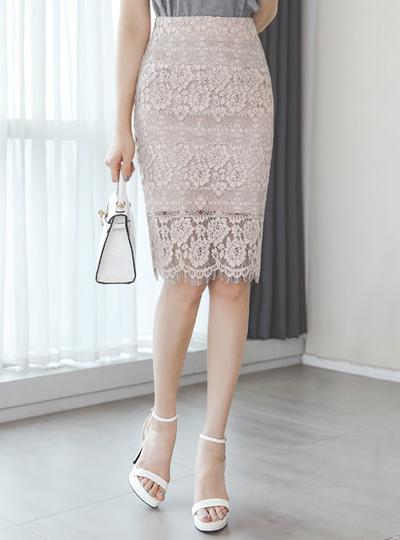 ウエーブ 刺繍 レイス スカート