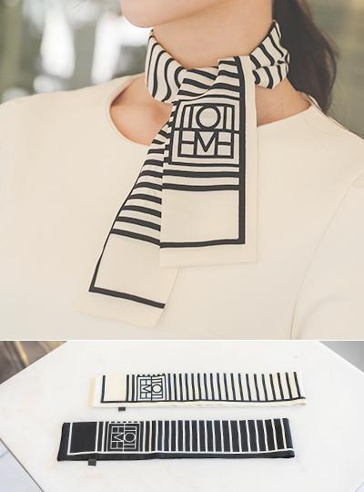 配色 ストライプ ミニ スカーフ
